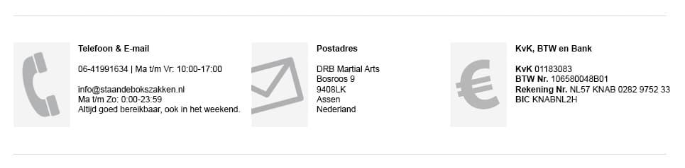Contactgegevens DRB Martial Arts staandebokszakken.nl